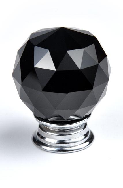 כפתור קריסטל B325 בגימור כרום בשילוב שחור