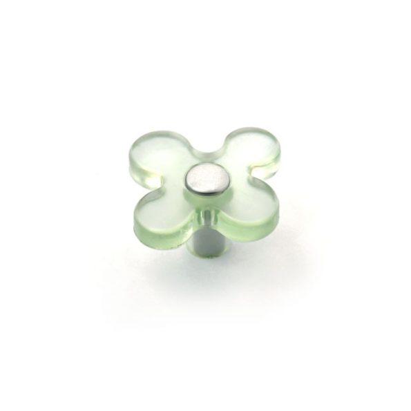 ידית כפתור YYS81163 ירוק שקוף בשילוב בסיס כסף